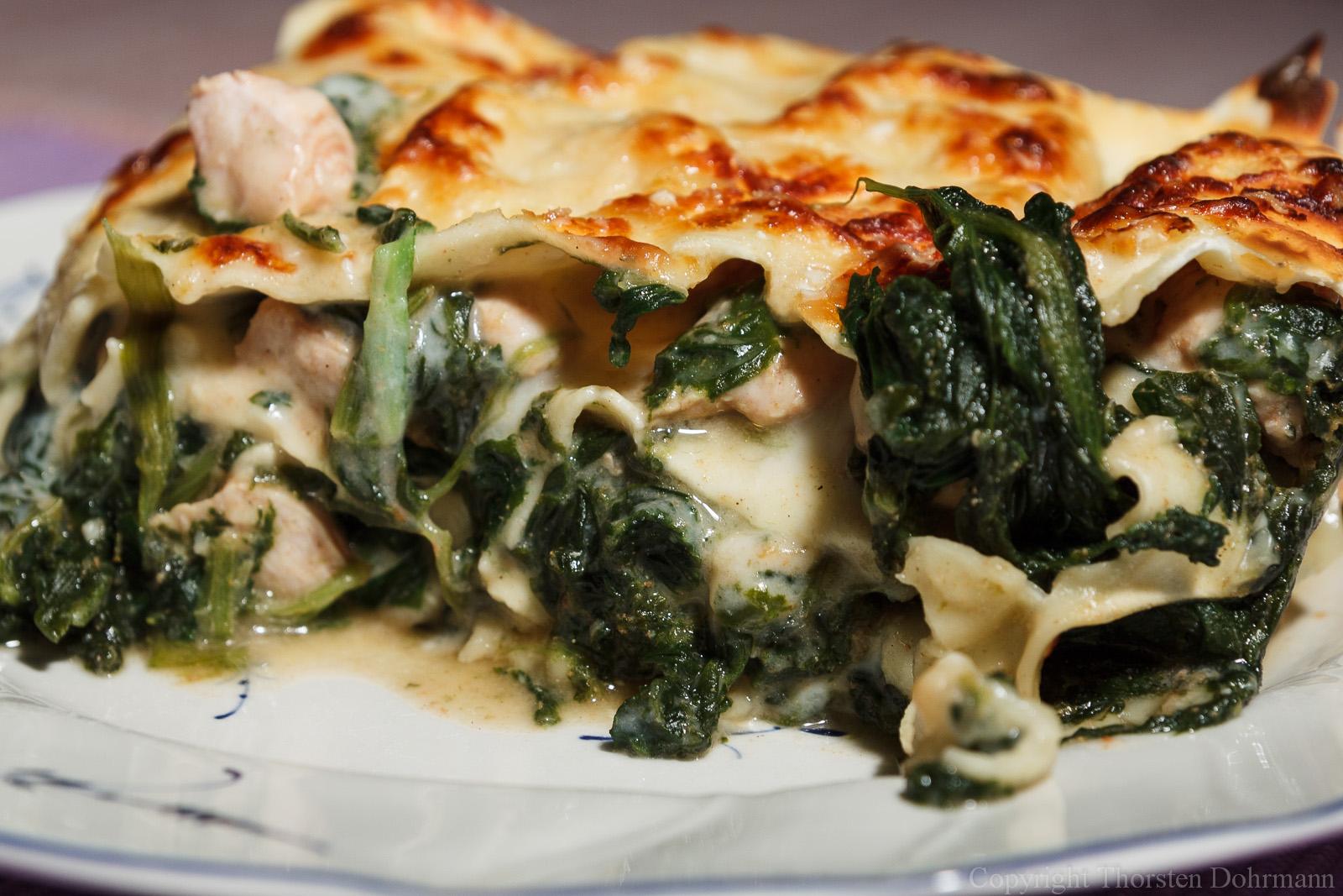 Lasagne mit Spinat und Putenbrust